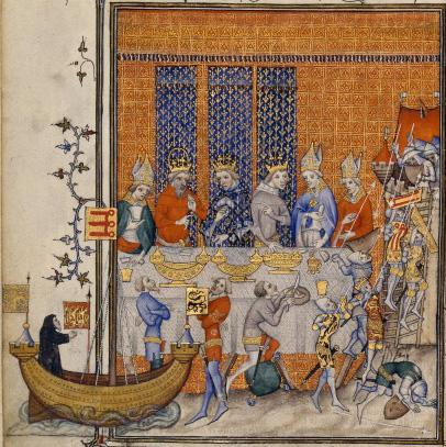 Banquet de Charles V, Grandes Chroniques de France, BNF.jpg