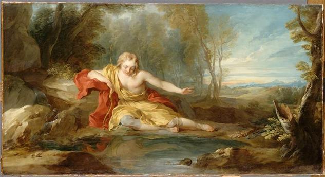 Narcisse contemplant son reflet dans l'eau, Lemoyne François (1688-1737), musée du Louvre.jpg
