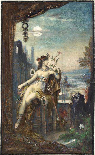 Cléopâtre, assise, demi nue, de face sur un trône très élevé, Gustave Moreau, XIXe siècle, Conservé au musée du Louvre, Paris