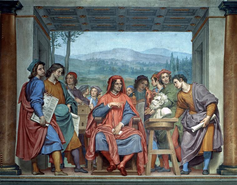 Ottavio Vannini. Laurent de Mécicis entouré d'artistes rencontre Michel-Ange. 1638-1642, Palazzo Pitti, Florence, RMN