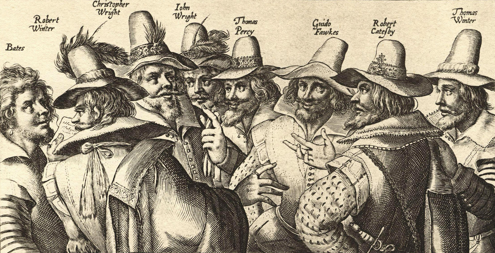 Gravure du XVIIe siècle,  les artisans de la Conspiration des poudres.jpg
